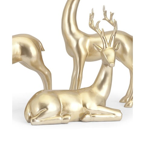 Reindeer-Gold-Seated Holiday Decoration