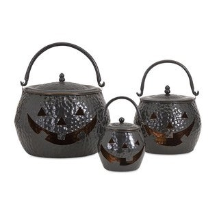Lidded Pumpkins Shiny Black Halloween Decoration (Set of 3)