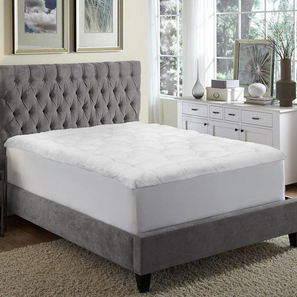 """MGM GRAND Hotel at home 2.5"""" Overfilled Micro Plush Fiberbed Mattress Topper - White"""