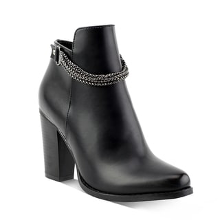 Olivia Miller Prospect Black/Brown Synthetic Ankle Chain Booties