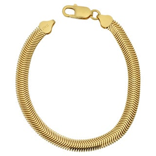 Argento Italia 14k Yellow Gold Over Sterling Silver 6.3-mm Oval Snake Bracelet (7.5 inches)