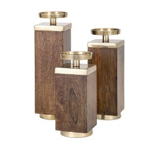 Concepts Eden Wood Candleholders (Set of 3)
