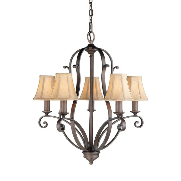Shop Feiss Tuscan Villa 5 Light Corinthian Bronze Chandelier Free Shipping Today Overstock