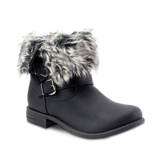 Olivia Miller Women's Crescent Multi Buckle Adjustable Faux Fur Cuff Boots