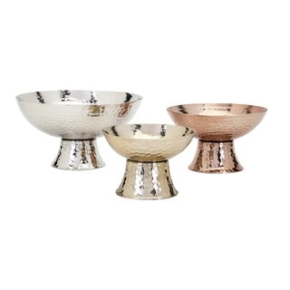 Parvel Metallic Pedestal Decorative Bowls (Set of 3)