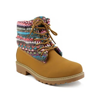 Olivia Miller Women's Norwood Multicolor/Tan Cotton/PVC Printed Fabric Boots