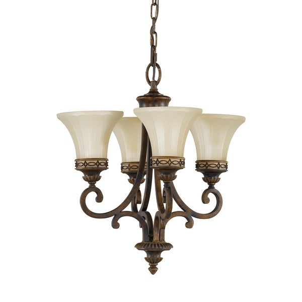 Feiss Drawing Room 4 Light Walnut Chandelier