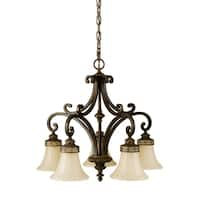 Feiss Drawing Room 5 Light Walnut Chandelier