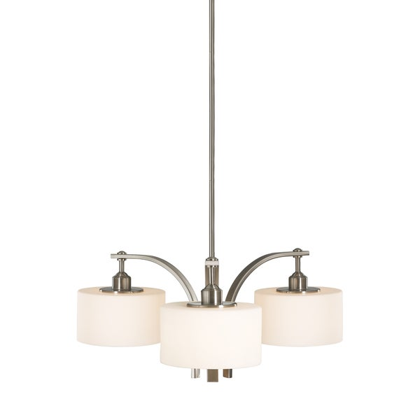 Feiss Sunset Drive 3 Light Brushed Steel Chandelier - Light Brushed Steel
