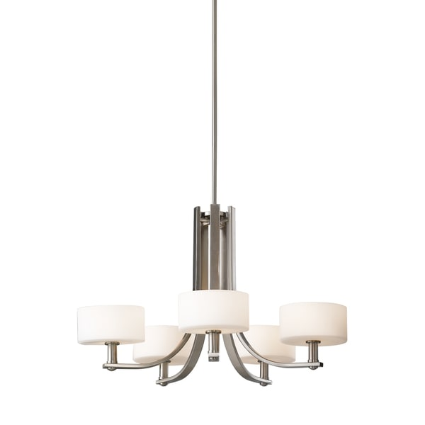 Feiss Sunset Drive 5 Light Brushed Steel Chandelier - Brushed Steel