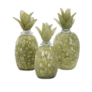 Rolanda Glass Pineapples with Stoppers (Set of 3)