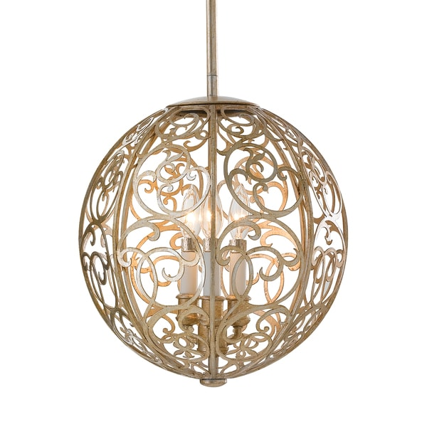 Feiss Arabesque 3 Light Silver Leaf Patina Chandelier