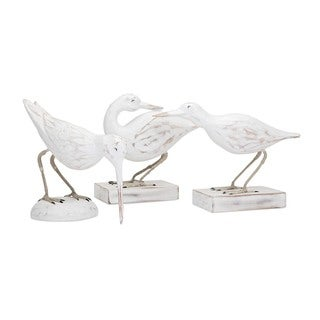 Coastal Carved Wood Seabirds (Set of 3)