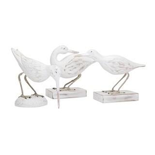 Coastal Carved Wood Seabirds (Set of 3)