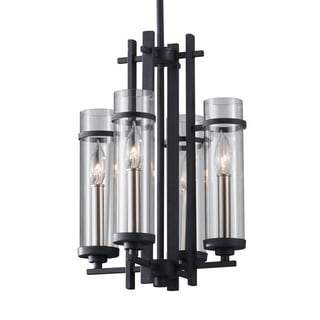 Feiss Ethan 4 Light Antique Forged Iron / Brushed Steel Chandelier