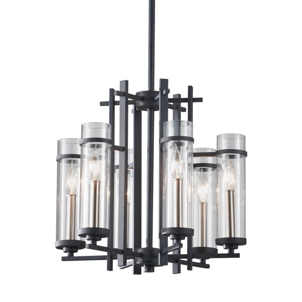 Feiss Ethan 6 Light Antique Forged Iron / Brushed Steel Chandelier - Grey