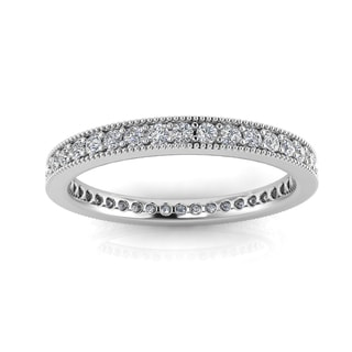 14k White Gold 2/3- 3/4ct TDW Diamond Pave & Milgrain Set Eternity Ring (J-K, SI1-SI2)