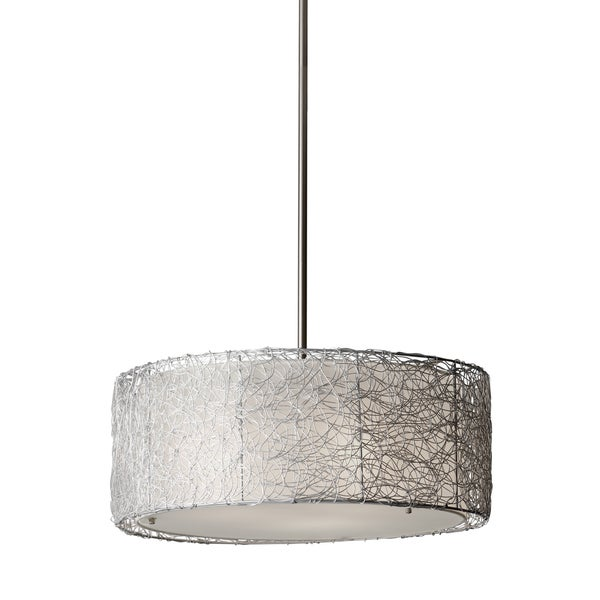 Feiss Wired 3 Light Brushed Steel Chandelier