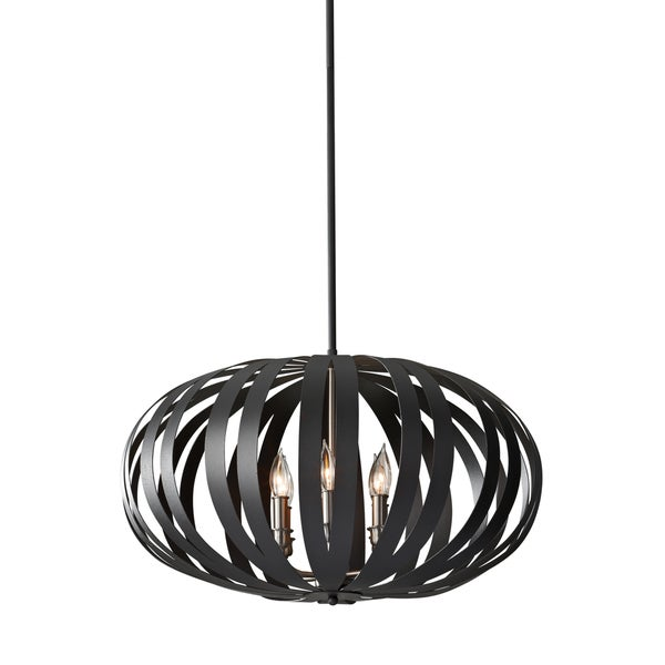 Feiss Woodstock 6 Light Textured Black Chandelier