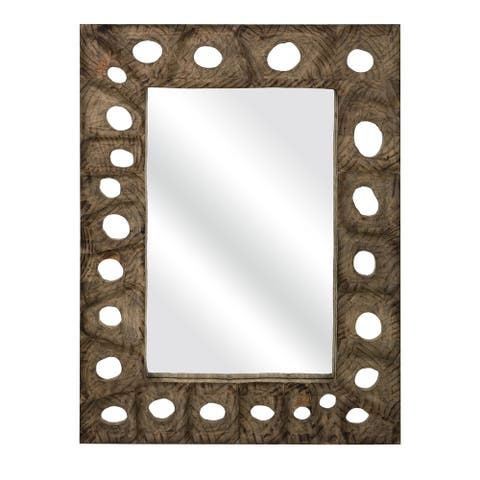 Aiden Carved Wood Mirror - Brown - A/N