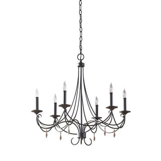 Feiss Aliya 6 Light Rustic Iron Chandelier