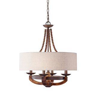 Feiss Adan 4 Light Rustic Iron / Burnished Wood Chandelier