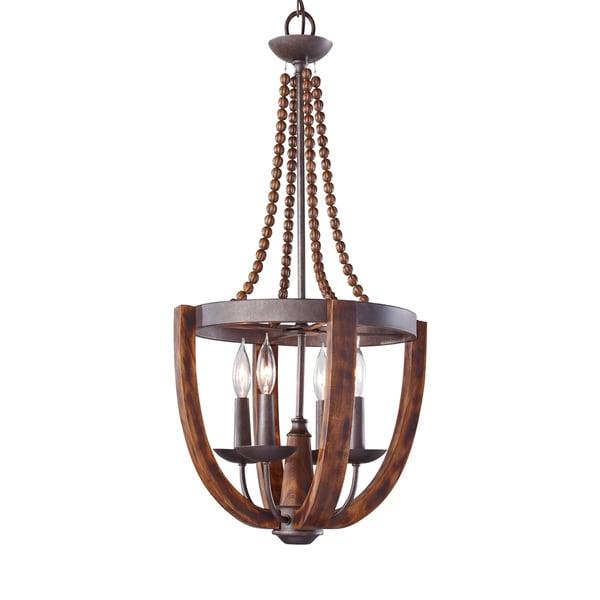 Feiss Adan 4 Light Rustic Iron / Burnished Wood Chandelier