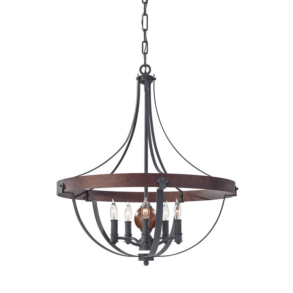 Feiss Alston 5 Light AF/CHARCOAL BRICK/ACORN Chandelier