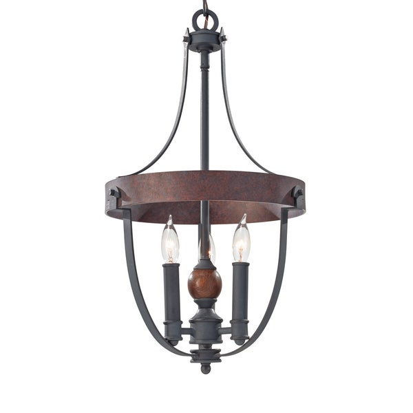 Feiss Alston 3 Light AF/CHARCOAL BRICK/ACORN Chandelier