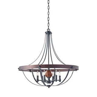 Feiss Alston 6 Light AF/CHARCOAL BRICK/ACORN Chandelier