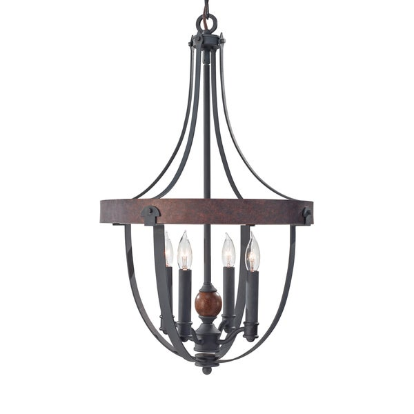 Feiss Alston 4 Light AF/CHARCOAL BRICK/ACORN Chandelier