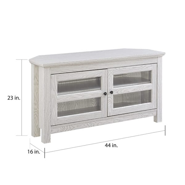 Admirable Shop 44 Corner Tv Stand Console White Wash 44 X 16 X Short Links Chair Design For Home Short Linksinfo