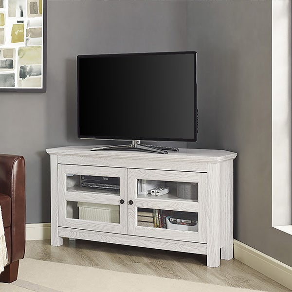 44 inch white wash wood corner tv stand 19344104 shopping great deals on. Black Bedroom Furniture Sets. Home Design Ideas