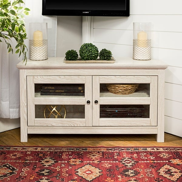 shop 44 inch white wash wood corner tv stand on sale free shipping today. Black Bedroom Furniture Sets. Home Design Ideas