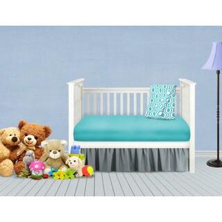 American Baby Company Grey and Aqua Cotton 3-Piece Baby Crib Bedding Set