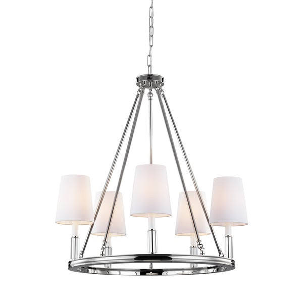 Feiss Lismore 5 Light Polished Nickel Chandelier