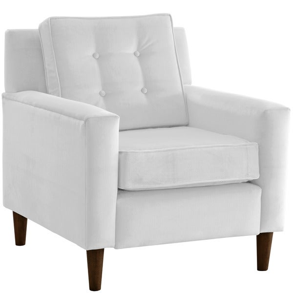 Skyline Furniture Premier White Microsuede Tufted Arm Chair