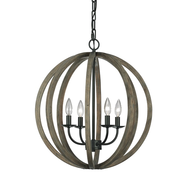 Feiss Allier 4 Light Weathered Oak Wood / Antique Forged Iron Pendant