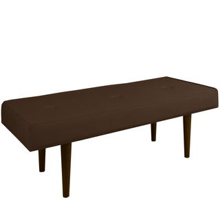Skyline Furniture Velvet Chocolate Button-tufted Bench With Cone Legs