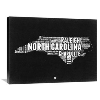 Naxart Studio 'North Carolina' Black and White Stretched Canvas Wall Art