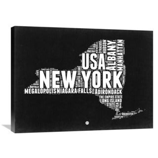 NAXART Studio 'New York Black and White Map' Stretched Canvas Wall Art
