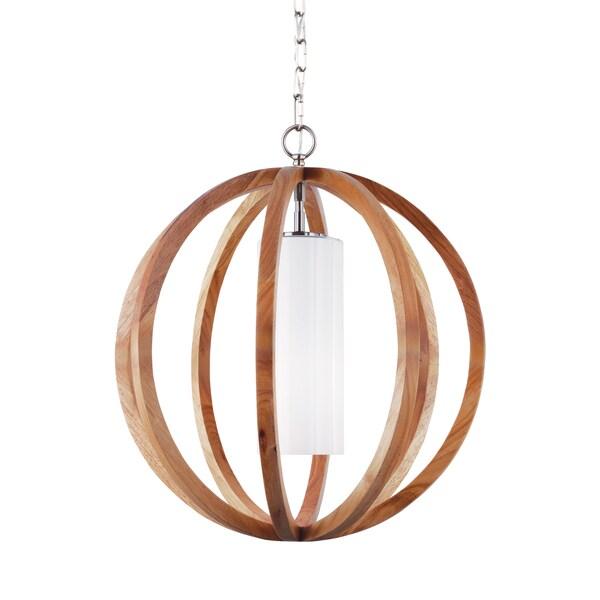 Feiss allier 1 light light wood brushed steel chandelier for Garden room braithwell