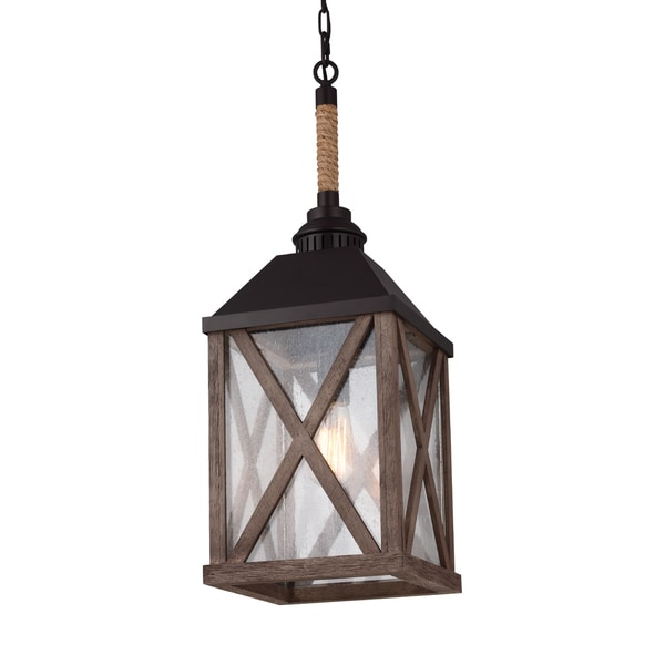 Feiss Lumiere' 1 Light Dark Weathered Oak / Oil Rubbed Bronze Chandelier
