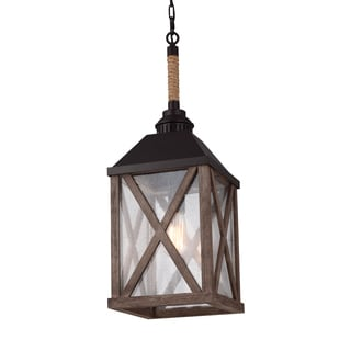 Feiss Lumiere' 1 Light Dark Weathered Oak / Oil Rubbed Bronze Chandelier
