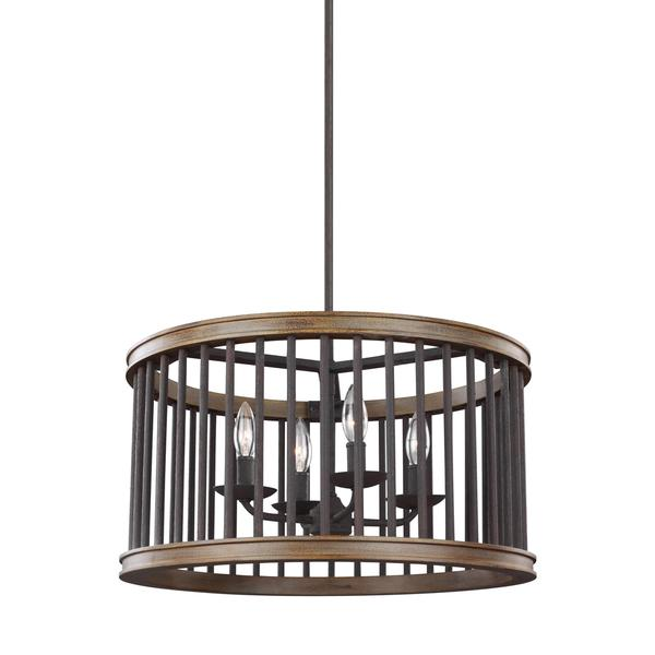 Feiss Locke 4 Light Weathered Rustic Iron / Textured Weathered Oak Pendant