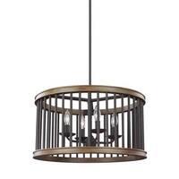 Feiss Locke 4 Light Weathered Rustic Iron / Textured Weathered Oak Pendant