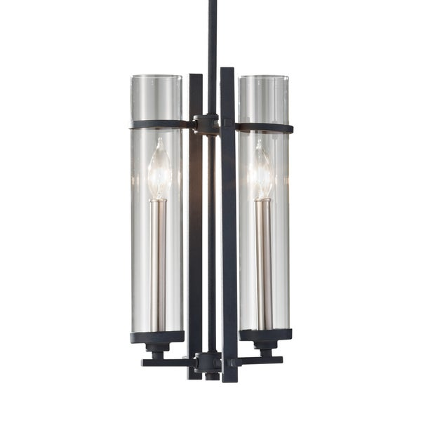 Feiss Ethan 2 Light Antique Forged Iron / Brushed Steel Pendant
