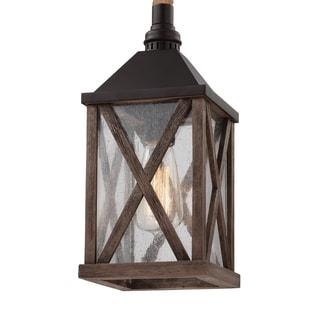 Feiss Lumiere' 1 Light Dark Weathered Oak / Oil Rubbed Bronze Pendant