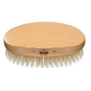 Kent Oval White Bristle Beechwood Brush