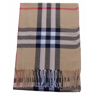 Beige Plaid Polyester Scarf|https://ak1.ostkcdn.com/images/products/12541181/P19343927.jpg?_ostk_perf_=percv&impolicy=medium